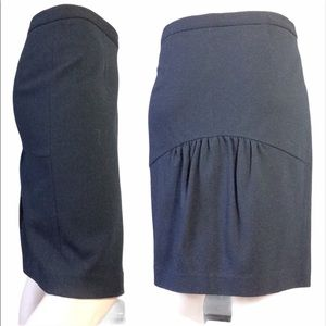 Theory Midi Black Stretchy Ruffle Back Skirt